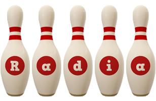 Radia bowling-pin logo