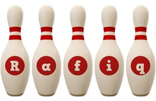 Rafiq bowling-pin logo