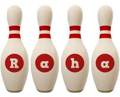 Raha bowling-pin logo