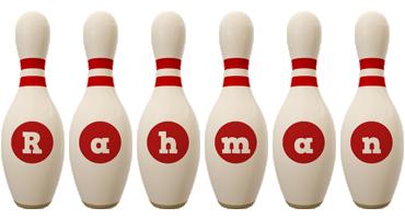 Rahman bowling-pin logo