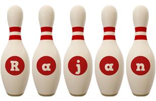 Rajan bowling-pin logo