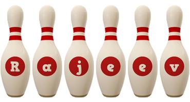 Rajeev bowling-pin logo