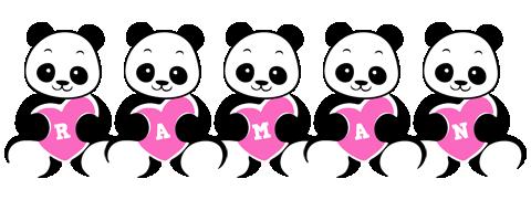 Raman love-panda logo