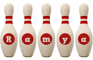 Ramya bowling-pin logo