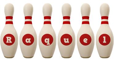 Raquel bowling-pin logo