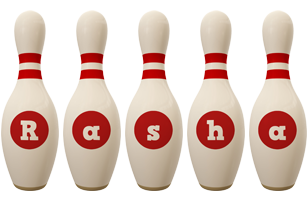 Rasha bowling-pin logo