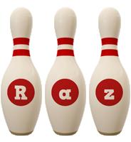 Raz bowling-pin logo
