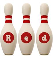 Red bowling-pin logo