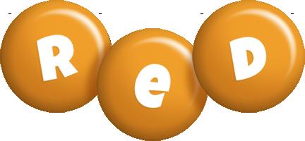 Red candy-orange logo