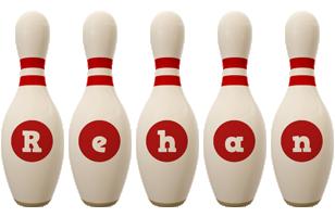 Rehan bowling-pin logo