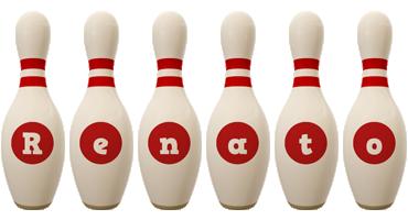 Renato bowling-pin logo