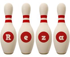 Reza bowling-pin logo