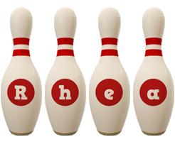 Rhea bowling-pin logo