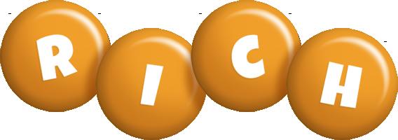 Rich candy-orange logo