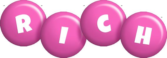 Rich candy-pink logo