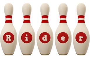 Rider bowling-pin logo