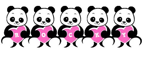 Rocky love-panda logo