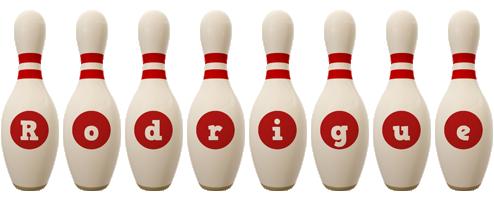 Rodrigue bowling-pin logo
