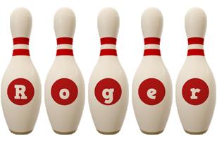Roger bowling-pin logo