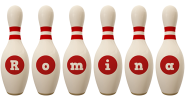 Romina bowling-pin logo