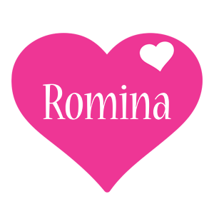 Romina love-heart logo