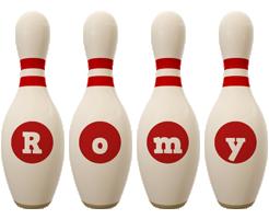 Romy bowling-pin logo