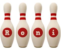 Roni bowling-pin logo