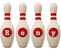 Rony bowling-pin logo