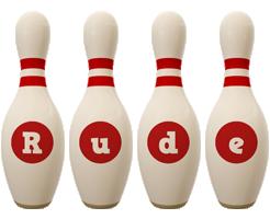 Rude bowling-pin logo