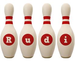 Rudi bowling-pin logo