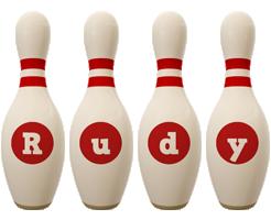 Rudy bowling-pin logo