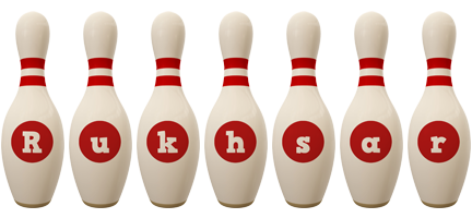 Rukhsar bowling-pin logo