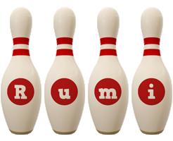 Rumi bowling-pin logo