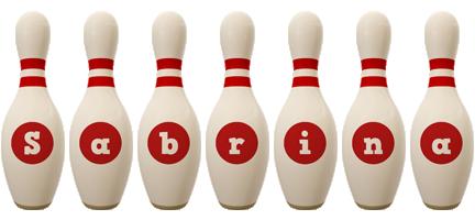 Sabrina bowling-pin logo