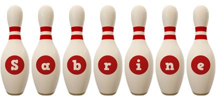 Sabrine bowling-pin logo