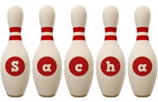 Sacha bowling-pin logo