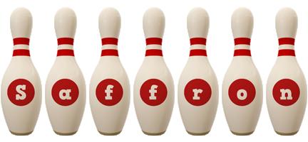 Saffron bowling-pin logo