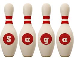 Saga bowling-pin logo