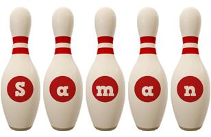 Saman bowling-pin logo