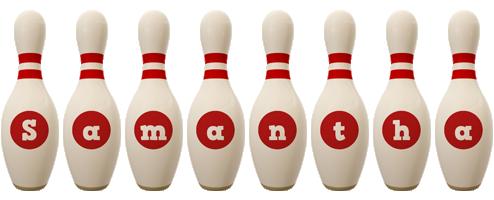 Samantha bowling-pin logo