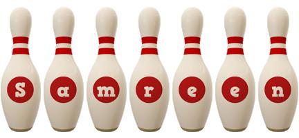 Samreen bowling-pin logo