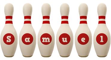 Samuel bowling-pin logo