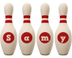 Samy bowling-pin logo