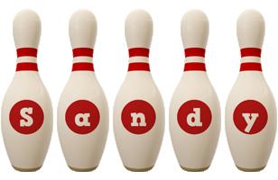 Sandy bowling-pin logo