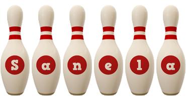 Sanela bowling-pin logo