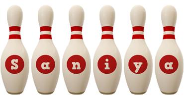 Saniya bowling-pin logo