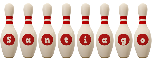 Santiago bowling-pin logo