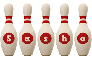 Sasha bowling-pin logo