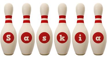 Saskia bowling-pin logo
