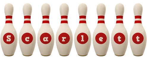 Scarlett bowling-pin logo